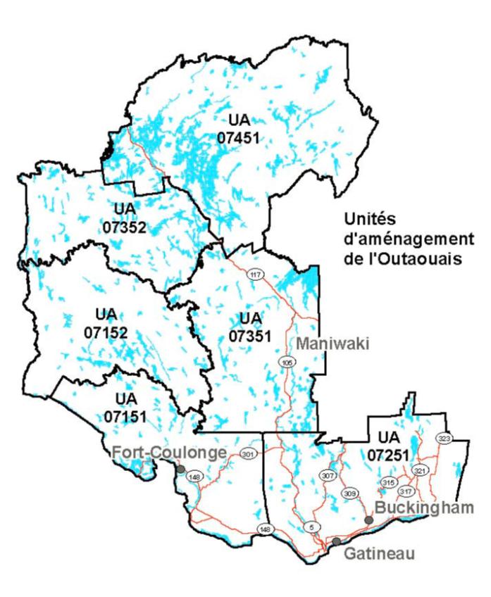 Carte des Unités d'aménagement de l'Outaouais